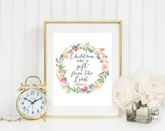 Children are a Gift from the Lord Printable, Psalm 127:3 Print, Scripture Wall Art, Mother's Day Floral Decor,Mother's Day gift, Gray Frames