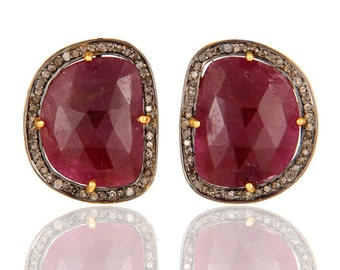 Exclusive 925 Sterling Silver Handmade Pave Diamond Ruby Gemstone Studs Earrings - Free Shape Fashion Jewelry