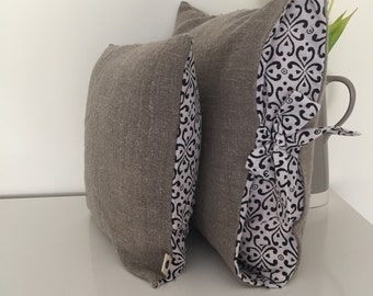 Splendid rawlinen and black and white swirl hand woven, hand dyed cushion, 16""