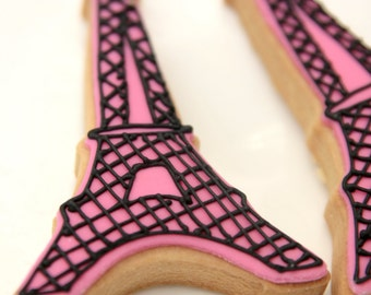 """1 Dozen Decorative 4"""" - Pink Eiffel Tower Cookies"""