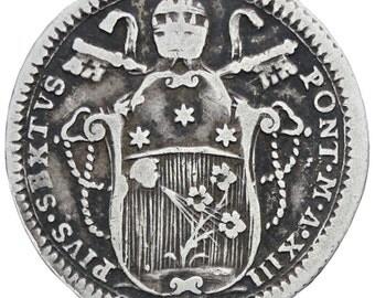 Italy Papal States 1787 Doppio 2 Giulio, 1/5 Scudo Pius VI Coin Silver