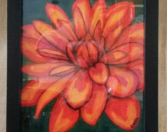 Orginal Acrylic Painting 'Orange Dahlia'