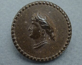 Vulcanite button with Roman coin style -Goodyear