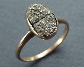 14k Pyrite ring size 6
