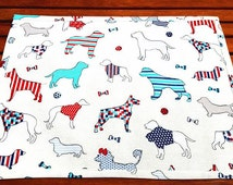 COLOURFUL DOG MAT Ivory Cotton Fabric White Faux Leather Reversible Waterproof Pet Placemat Feeding Drink Food Mat Handmade Birthday Gift