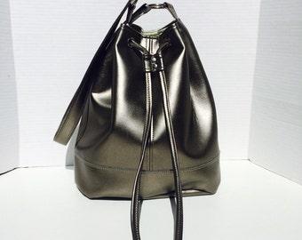Metallic Pewter Drawstring Bonnie Bucket Bag