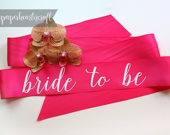 Custom Sash, Bride To Be Sash, Future Mrs. Sash, Bachelorette Sash, Mommy To Be Sash, Bridal Party Sash, Hot Pink Sash