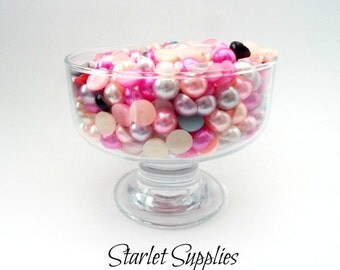 10MM - Mixed Color Half Pearl Cabochons, Flat Pearls, 10mm Flatback Pearls