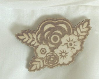 Flower Pin Brooch Wood