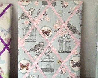 Hand made Fabric Notice Board In Clarke & Clarke Birdcage  Fabric