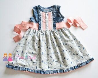 Baby Girls Dress, Toddler Girl Dress, Girls Fall Dress, Boutique Dress, Navy Blue, Blush Pink, Ruffle Dress, Party Dress