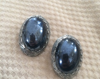 vintage clip on earrings with big gem