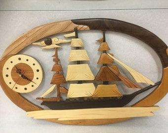 Sail Boat Wall Plaque Clock Decor Gift