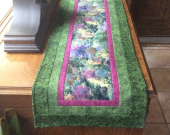 Quilted table runner, Thomas Kinkade table runner, green table runner, spring table runner, flowered table runner