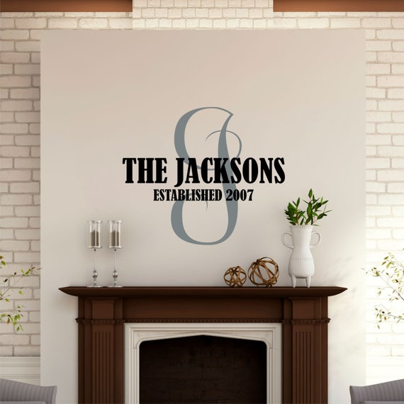 personalized name wall decal last name decal family. Black Bedroom Furniture Sets. Home Design Ideas
