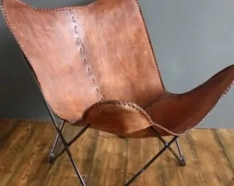 Leather butterfly hand made chair