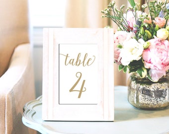 Printed Table Numbers, Gold Wedding Table Numbers 1-30, 4x6 and 5x7 Table Numbers