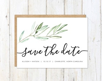 Rustic Save the Date, Olive Branch Save the Date, Tuscan Save the Date