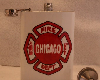 Chicago Fire Department Hip flask, Stainless Steel Flask, FREE SHIPPING ,Whiskey Flask, 8 oz., Chicago Fire