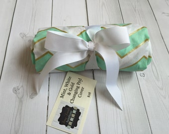 Changing Pad Cover - Mint, Gold, White - Changing Pad - Baby Bedding - Baby - Nursery - Chevron - Gender Neutral - Ready to ship - Trendy