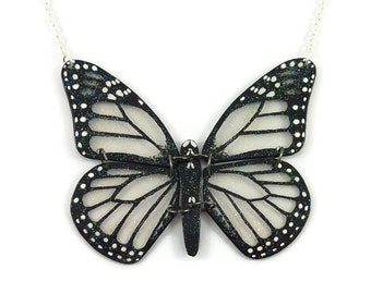Transparent and black monarch butterfly necklace with glitters, fairy fancy plastic necklace, handmade necklace made with recycled CD