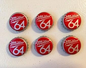 Miller 64 Bottle Cap Magnets Set of 6