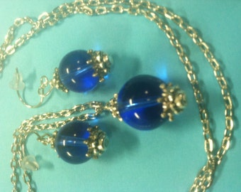 Blue Necklace with matching earings