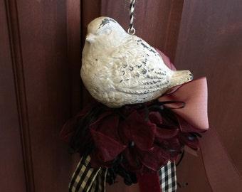 Country chic decor,  home decor tassel,  bird