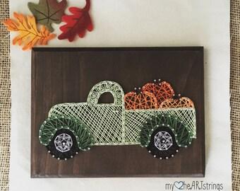 String art pumpkin truck
