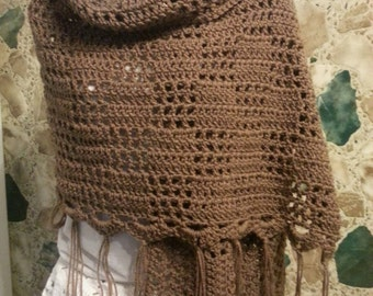 Crochet shawl/wrap with fringe in cafe latte