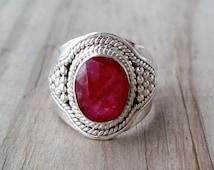 Ruby Ring - Red Ruby Gemstone Ring - July Birthstone Ring - Sterling Silver Ring - Ruby Jewelry - Ethnic Boho Gypsy Ring