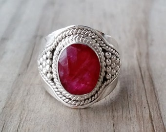 Ruby Ring - Red Ruby Gemstone Ring - July Birthstone Ring - Sterling Silver Ring - Ruby Jewelry - Ethnic Boho Gypsy Ring