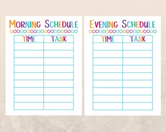Responsibility Chart - Kids Planner - Kids Schedule - Morning Routine Chart - Chore Chart - School Schedule - Family Schedule Bedtime Chart