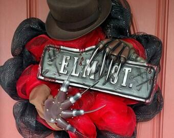 Freddy Krueger wreath. Freddy wreath. Freddy Krueger decor. Halloween wreath. Halloween party. Halloween decor. Scary wreath.