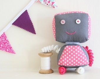 Pink Polkadot Toy with Interchangeable Head