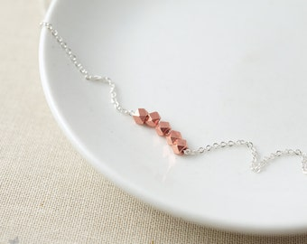 Rose gold nugget necklace - minimalist necklace - pink gold necklace