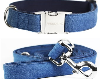 Dog collar BILLIE JEANS handmade from blue denim - super cozy - matching leash available - comes in many sizes