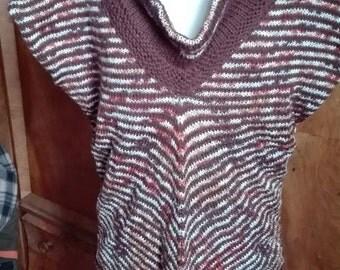 Brown Zebra,Vest in Diagonal Stripes , Warm