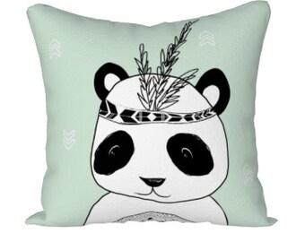Panda pillow Cover, panda cushion, green panda pillow, panda decorative Pillow nursery, panda pillow nursery