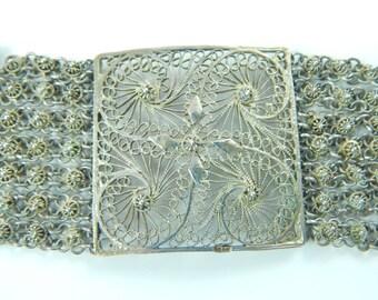 Art Nouveau Filigree Lace Design Link Bracelet