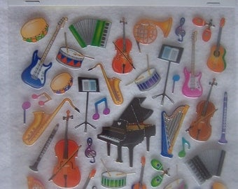 Stickers - scrapbooking - Musical Instruments - NEW