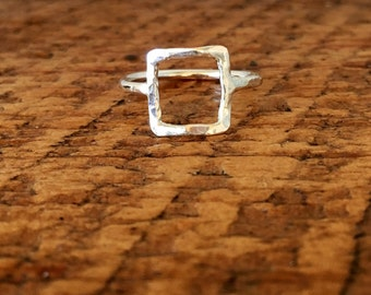 Open Square Ring - Shape Ring - Sterling Silver Ring - Minimalist Jewelry - Everyday Ring - Geometric Ring