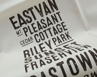 East Van Bus Scroll Tea Towel