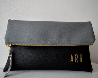 Monogrammed Foldover Clutch, Grey and Black Personalized Clutch Bag, Clutch Purse Gift