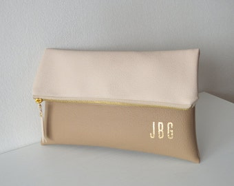 Personalized Clutch Bag, Colorblock Monogrammed Clutch Purse, Bridesmaids gift, Foldover clutch bag