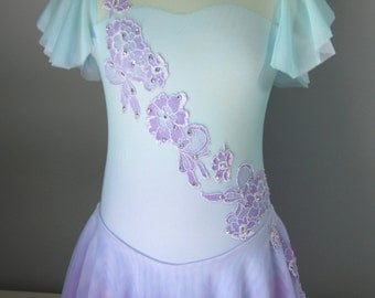 Dip-dyed Ombre Aqua and Lavender Figure Skating Dress