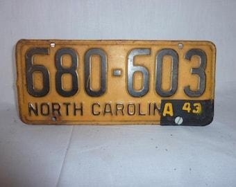 Vintage 1942 North Carolina License Plate WWII