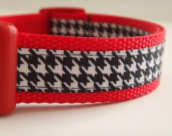 Dog Collar - Girl Dog Collar- Houndstooth Dog Collar - Adjustable Small or Large Dog Collar-Girl Dog Collar- Red, Black and White Dog Collar