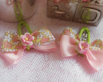 Apple Green and Pink Floral Hair Bow Clips