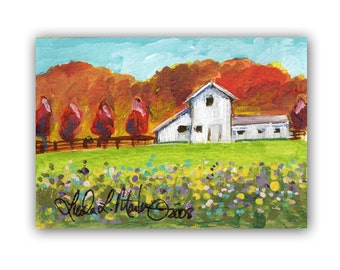 White Barns Autumn Art by Linda  L Martin  ACEO Original Acrylic Painting Artwork LLMartin Fall